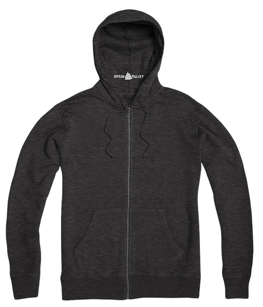 Charcoal Melange- Zipper Hoodie - Opium Valley