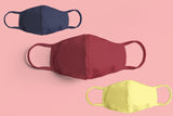 PLAIN MASK COMBO (2-layer): NAVY BLUE, MAROON, LEMON YELLOW