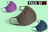 PLAIN MASK COMBO (2-layer): PURPLE, OLIVE GREEN, PETROL BLUE