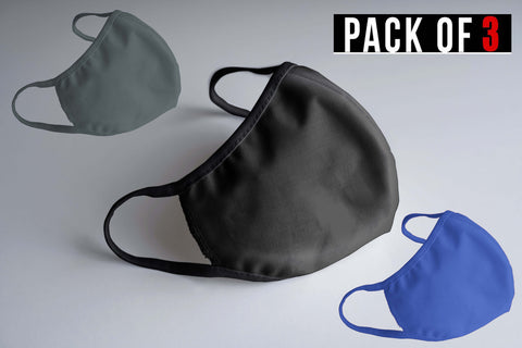 PLAIN MASK COMBO (2-layer): STEEL GREY, BLACK, ROYAL BLUE