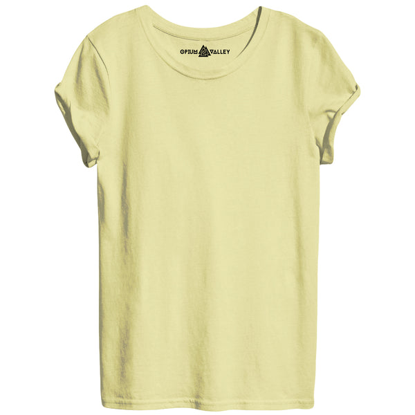 Cream - Round Neck T-Shirt For Women - Opium Valley