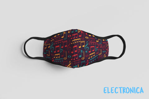 Designer Face Mask (3-layer with filter pocket, Nose Clip & Adjustable Earloop): ELECTRONICA