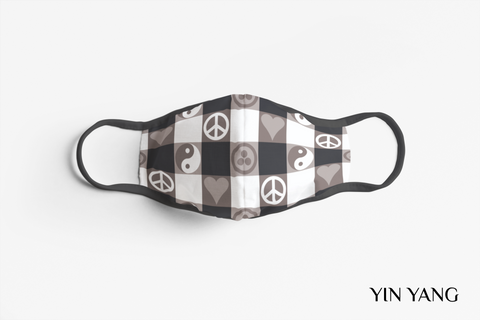 Designer Face Mask (3-layer with filter pocket, Nose Clip & Adjustable earloop): YIN YANG