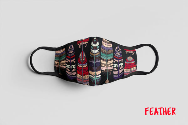 Designer Face Mask (3-layer with filter pocket & Nose Clip & Adjustable earloop): FEATHER