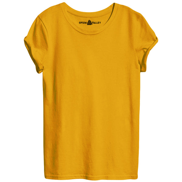 Golden Yellow - Round Neck T-Shirt For Women - Opium Valley