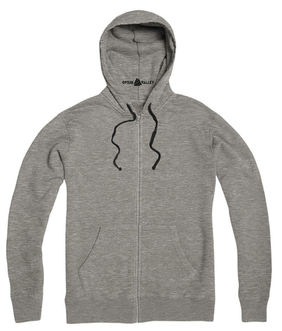 Gray Melange- Zipper Hoodie - Opium Valley