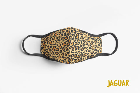 Designer Face Mask (3-layer with filter pocket & Nose Clip & Adjustable earloop): JAGUAR