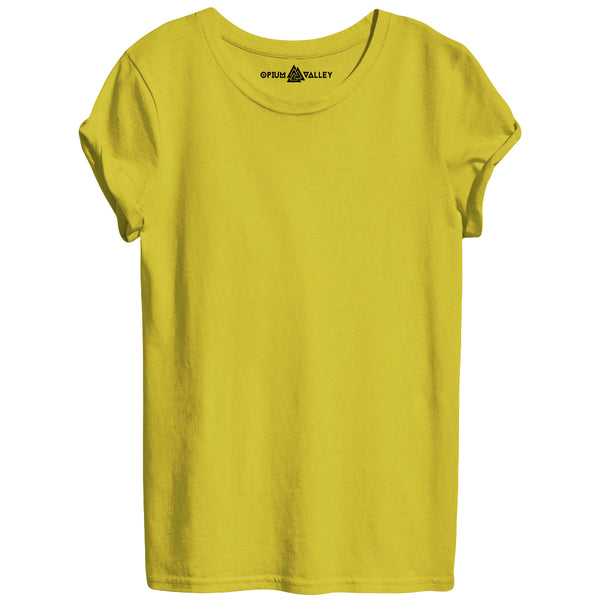 Yellow - Round Neck T-Shirt For Women - Opium Valley