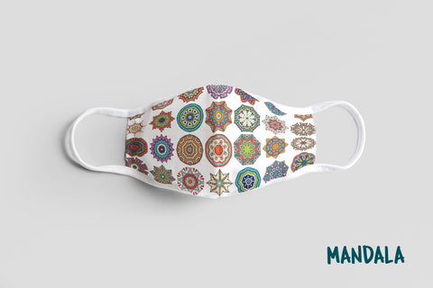 Designer Face Mask (3-layer with filter pocket, Nose Clip & Adjustable Earloop): MANDALA