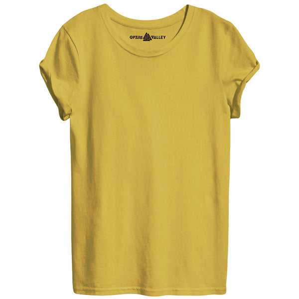 Mustard - Round Neck T-Shirt For Women - Opium Valley