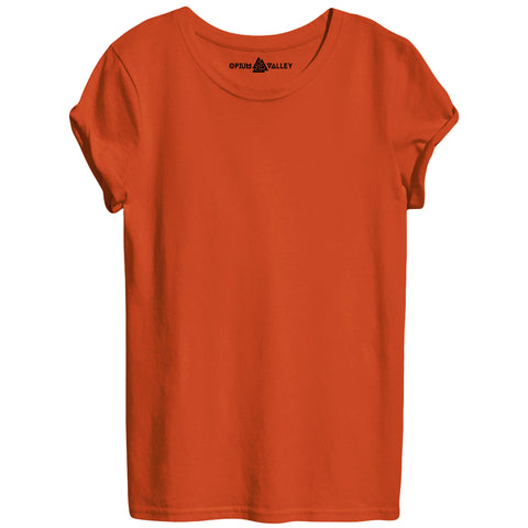 Orange - Round Neck T-Shirt For Women - Opium Valley