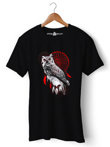 Dreamcatcher Owl - Round Neck T-Shirt - Opium Valley