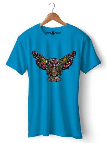 Psychedelic Owl - Round Neck T-Shirt - Opium Valley