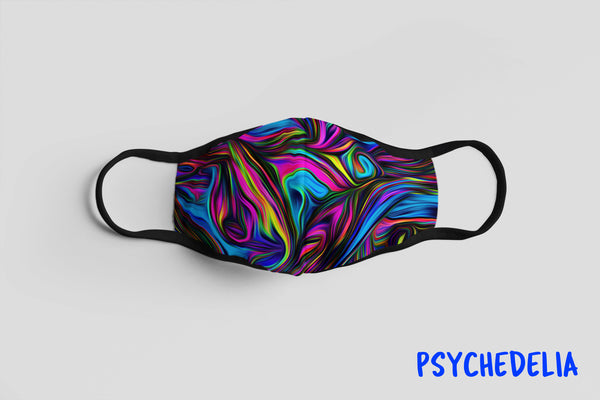 Designer Face Mask (3-layer with filter pocket & Nose Clip & Adjustable earloop): PSYCHEDELIA
