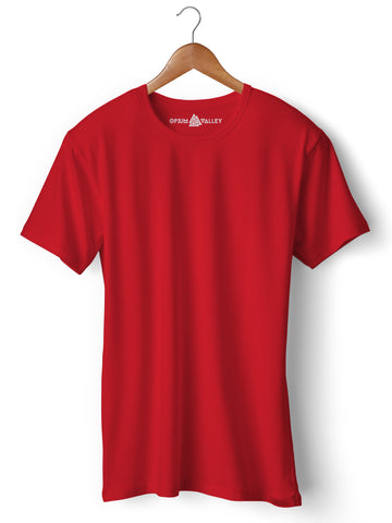 Red - Round Neck T-Shirt - Opium Valley