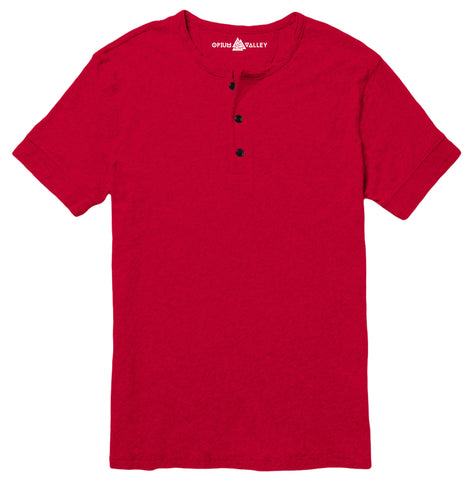 Red - Henley T-Shirt - Opium Valley