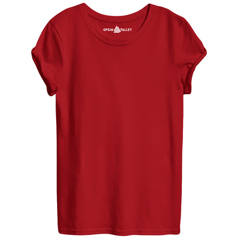 Red - Round Neck T-Shirt For Women - Opium Valley