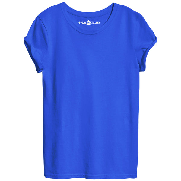 Royal Blue - Round Neck T-Shirt For Women - Opium Valley