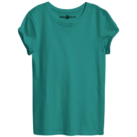 Sea Green - Round Neck T-Shirt For Women - Opium Valley