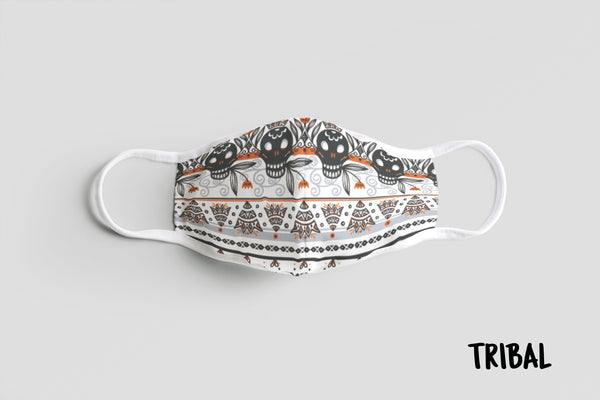 Designer Face Mask (3-layer with filter pocket with Nose Clip & Adjustable earloop): TRIBAL