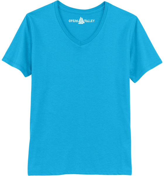 Turquoise Blue - V-neck T-Shirt - Opium Valley