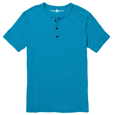 Turquoise Blue - Henley T-Shirt