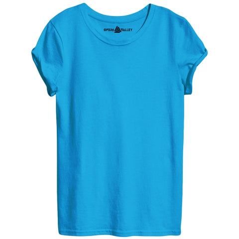 Turquoise Blue - Round Neck T-Shirt For Women - Opium Valley