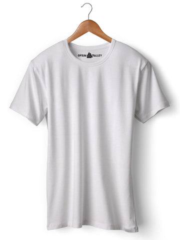 40003eaaf87 White - Round Neck T-Shirt - Opium Valley