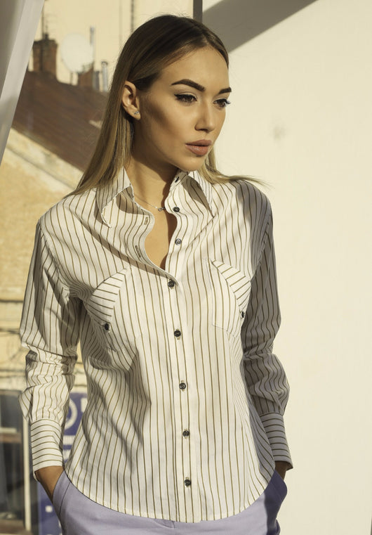 WHITE SHIRT WITH MUSTARD STRIPES - YULIA GURAL