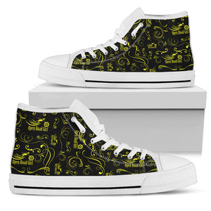 YELLOW Scatter Design Open Road Girl White Sole Women's High Top