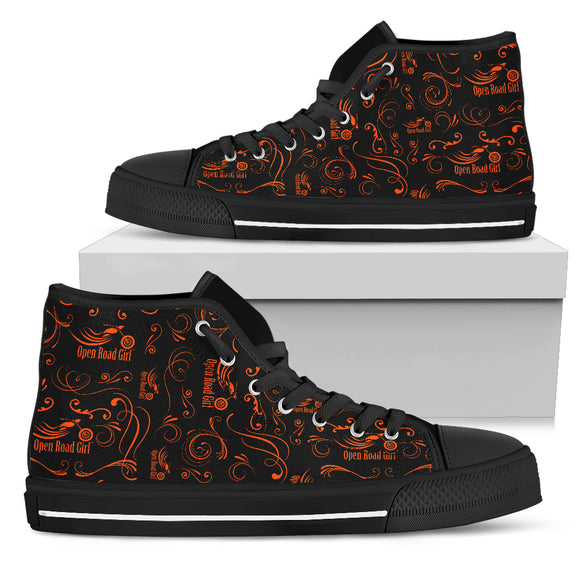 ORANGE Scatter Design Open Road Girl Canvas Women's High Top