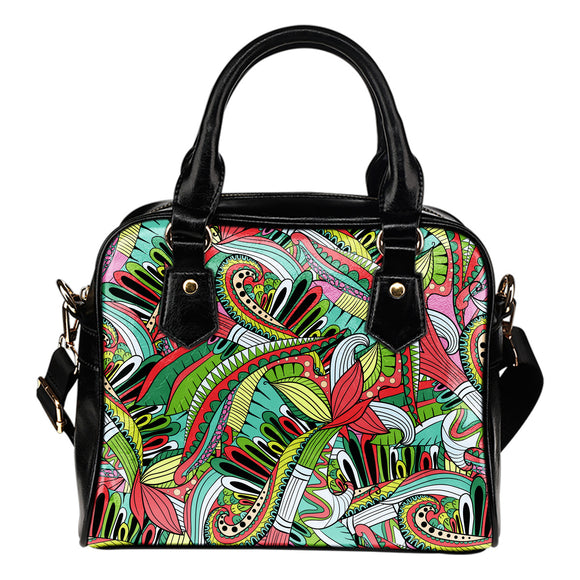 Funky Patterns in Greens - Shoulder Bag