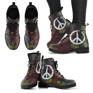 Henna Flowers Peace Women's Leather Boots