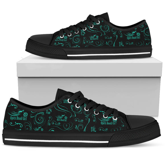 TEAL Scatter Design Open Road Girl Black Sole Women's Low Top Shoe