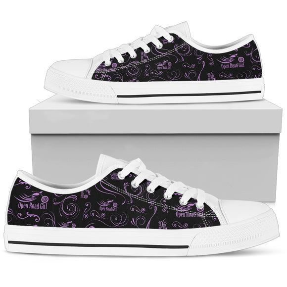 PURPLE Scatter Design Open Road Girl White Sole Women's Low Top Shoe