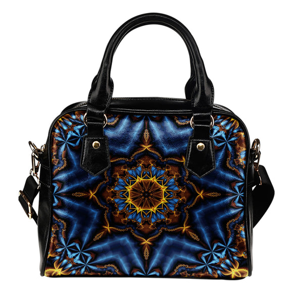 Mandala Blue Leather Shoulder Bag