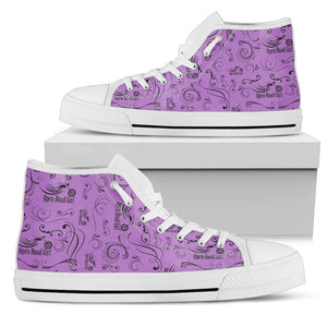 PURPLE Solid Scatter Design Open Road Girl White Sole Women's High Top