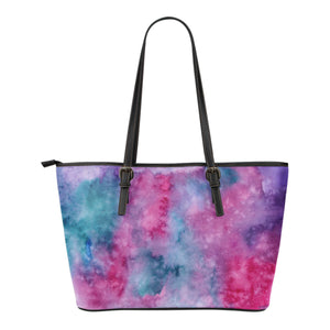 Watercolor Pink Small Leather Tote Bag