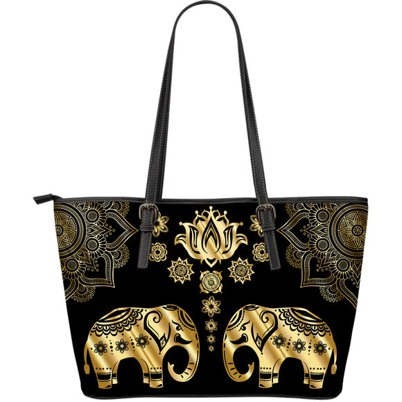 Elephant Paradise Large Leather Tote Bag