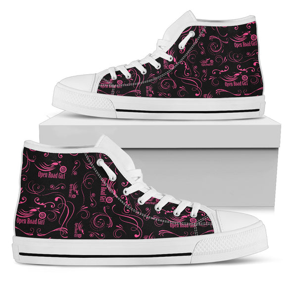 PINK Scatter Design Open Road Girl Women's High Top