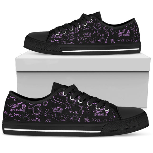 PURPLE Scatter Design Open Road Girl Black Sole Women's Low Top Shoe