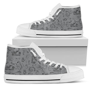 GREY Solid Scatter Design Open Road Girl White Sole Women's High Top