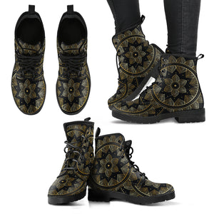 Golden Lotus Mandala Women's Leather Boots