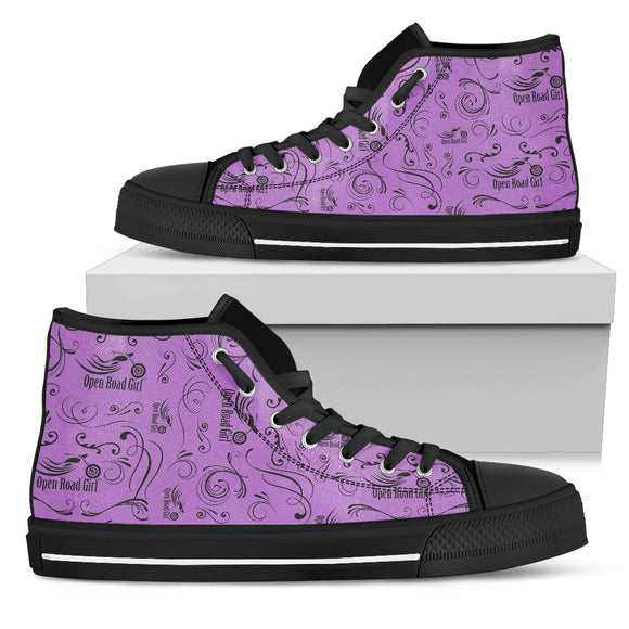PURPLE Solid Scatter Women's High Top