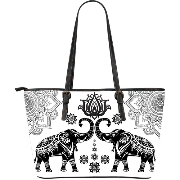 Elephant Love Large Leather Tote Bag