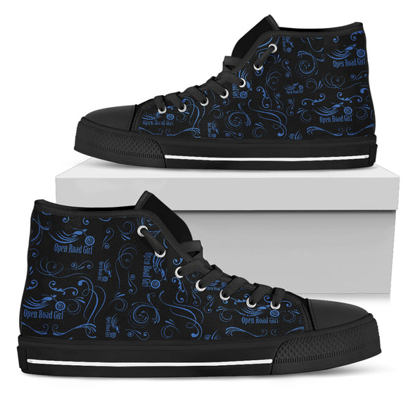 BLUE Scatter Design Open Road Girl Canvas Hi-Tops