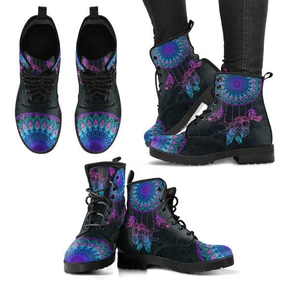 Mandala Dream Catcher Women's Leather Boots