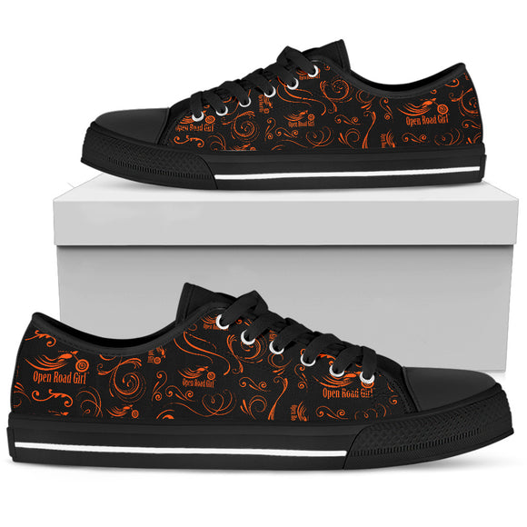 ORANGE Scatter Design Open Road Girl Black Sole Women's Low Top Shoe