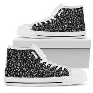 Womens High Top Canvas Shoes. Black Music Note Design
