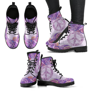 Peace Henna Mandala Women's Leather Boots